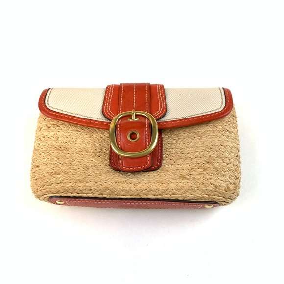 Coach Handbags - Coach Womens Clutch Wicker Red/Orange-Like Color